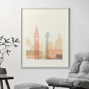 Venice art print skyline pastel cream second