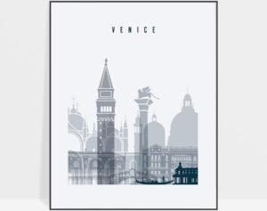 Venice skyline poster grey blue
