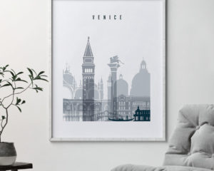 Venice skyline poster grey blue second