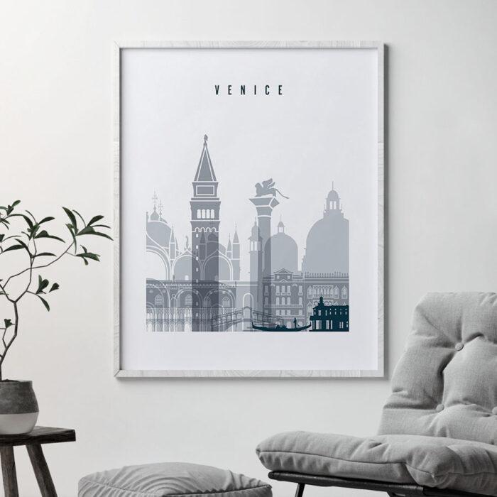 Venice skyline poster grey blue second