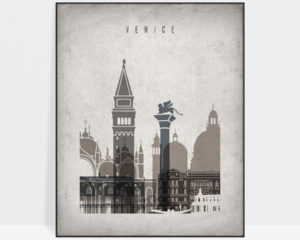 Venice skyline wall art retro