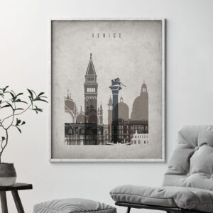 Venice skyline wall art retro second