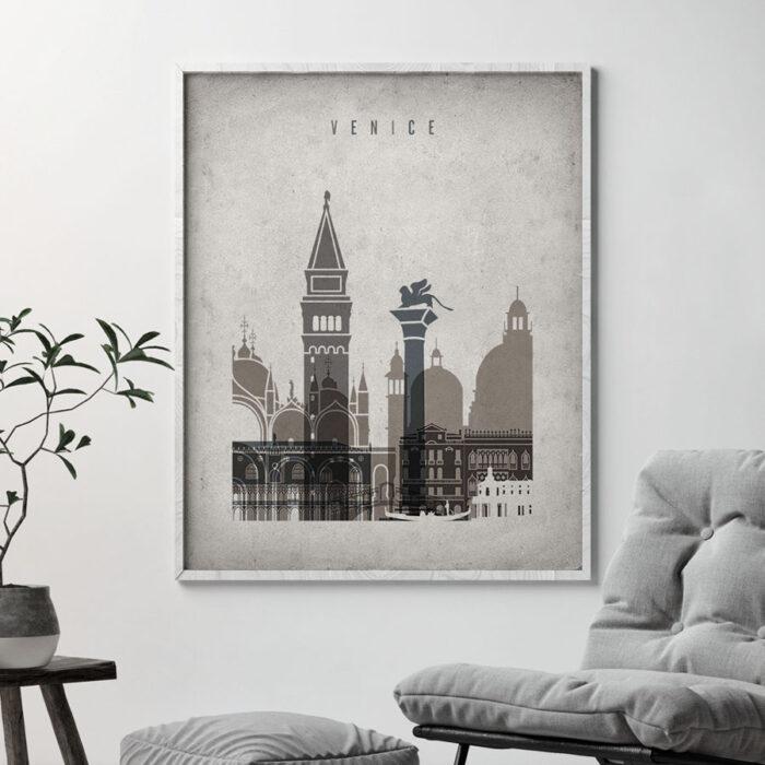 Venice skyline wall art retro second