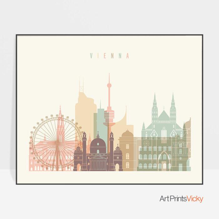 Vienna art print skyline pastel cream landscape