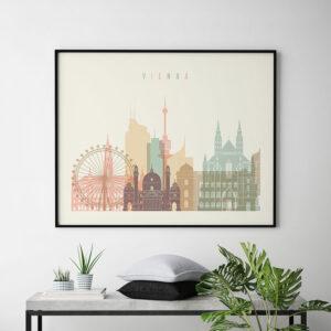 Vienna art print skyline pastel cream landscape second