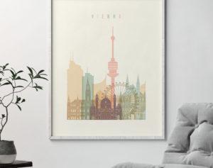 Vienna skyline art pastel cream second