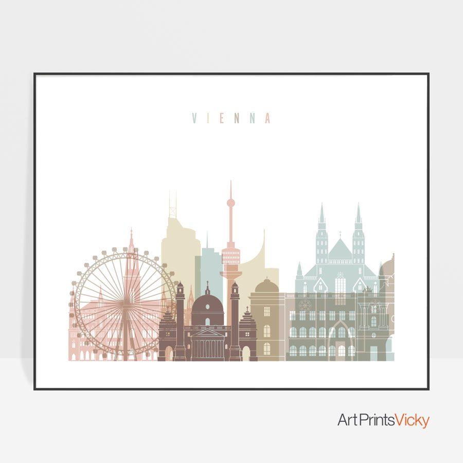 Vienna wall art print pastel white landscape