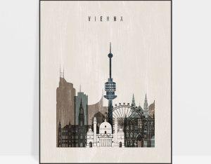 Vienna skyline print distressed 2