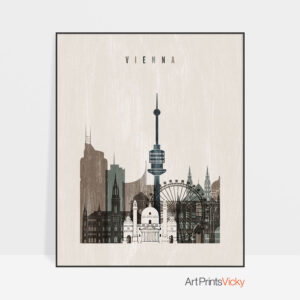 Vienna skyline print distressed 2