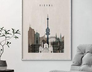 Vienna skyline print distressed 2 second