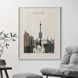 Vienna skyline print distressed 2 second
