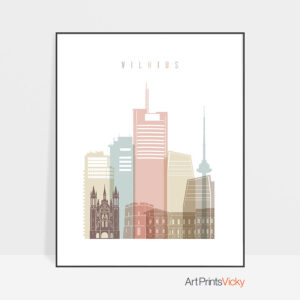 Vilnius poster skyline pastel white