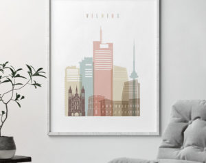 Vilnius poster skyline pastel white second