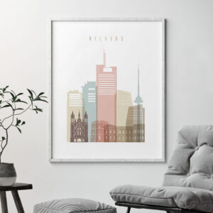 Vilnius poster skyline pastel white second