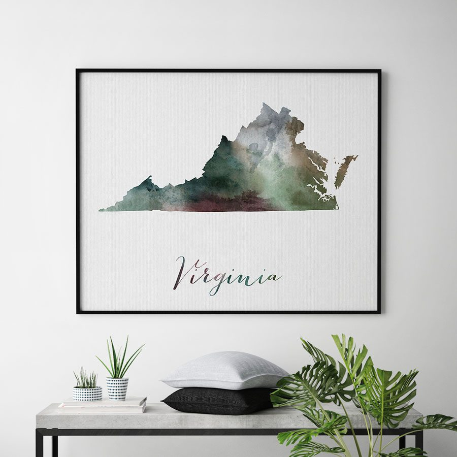 Virginia State map print second
