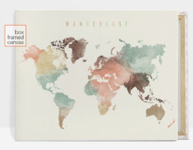 Wanderlust world map canvas print pastel
