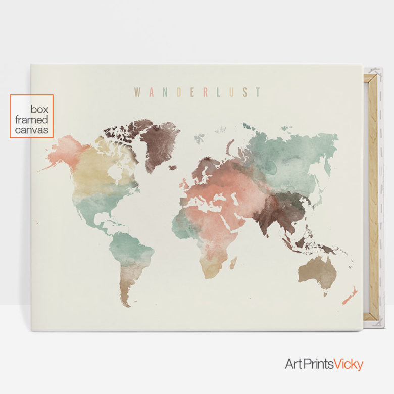 Wanderlust world map canvas print pastel
