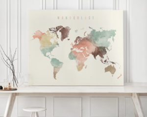 Wanderlust world map canvas print pastel second