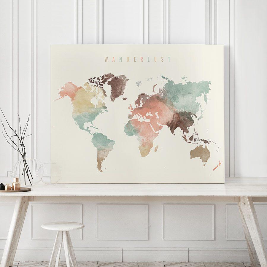 Wanderlust world map canvas print pastel second