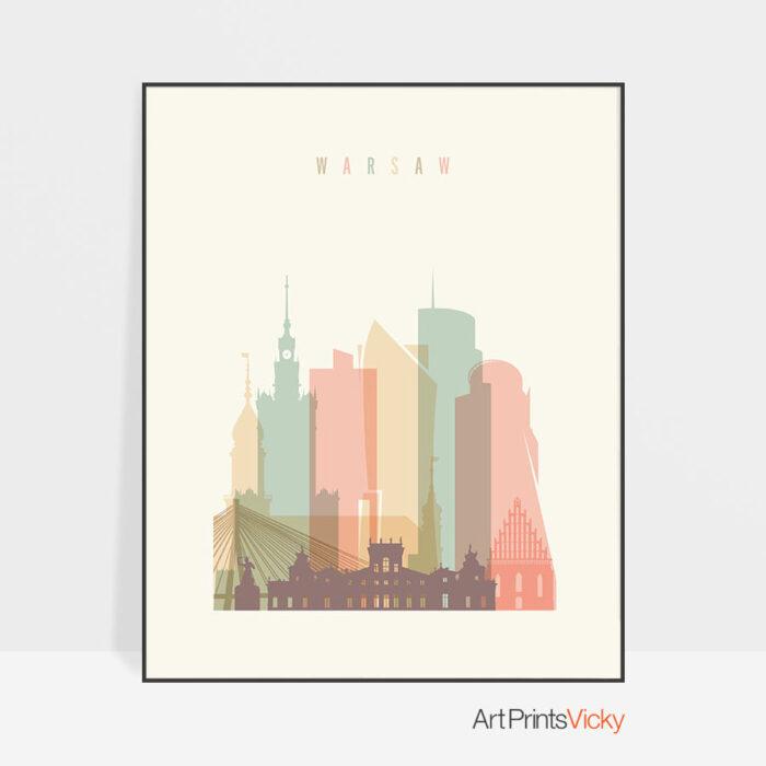 Warsaw art print skyline pastel cream