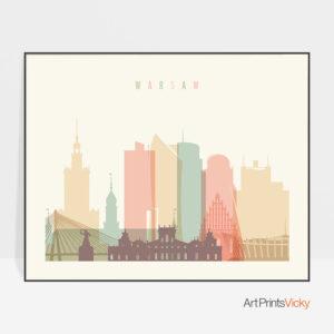 Warsaw skyline art pastel cream landscape
