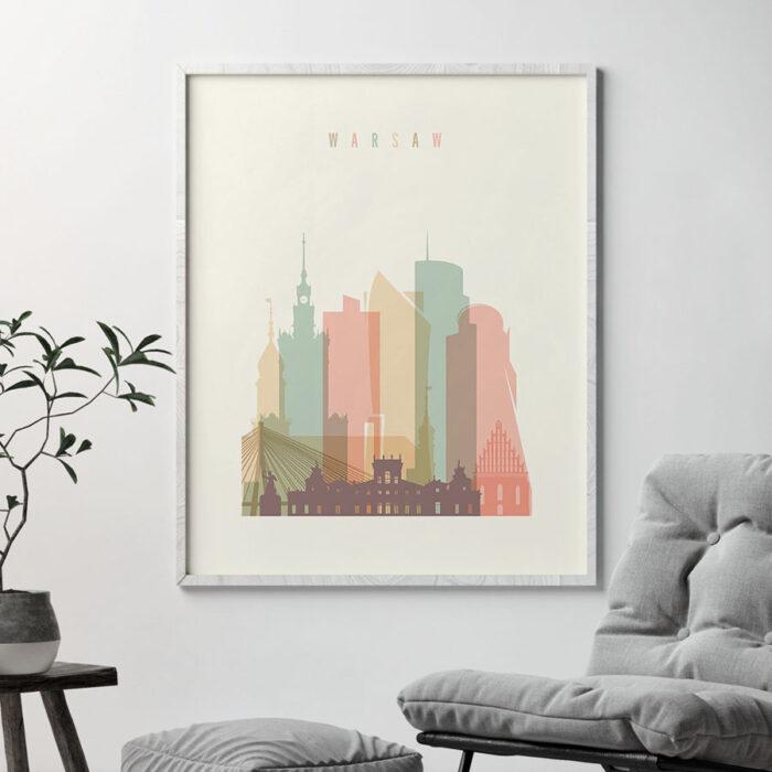 Warsaw art print skyline pastel cream second
