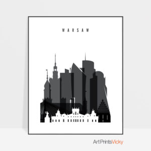 Warsaw skyline black and white poster