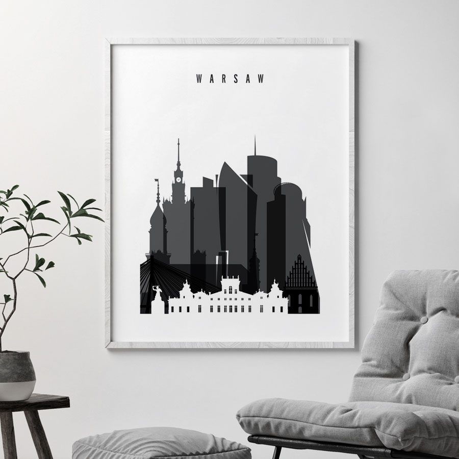 Warsaw skyline black and white poster second