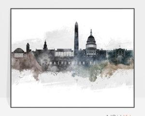 Washington DC art poster watercolor