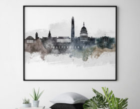 Washington DC art poster watercolor second