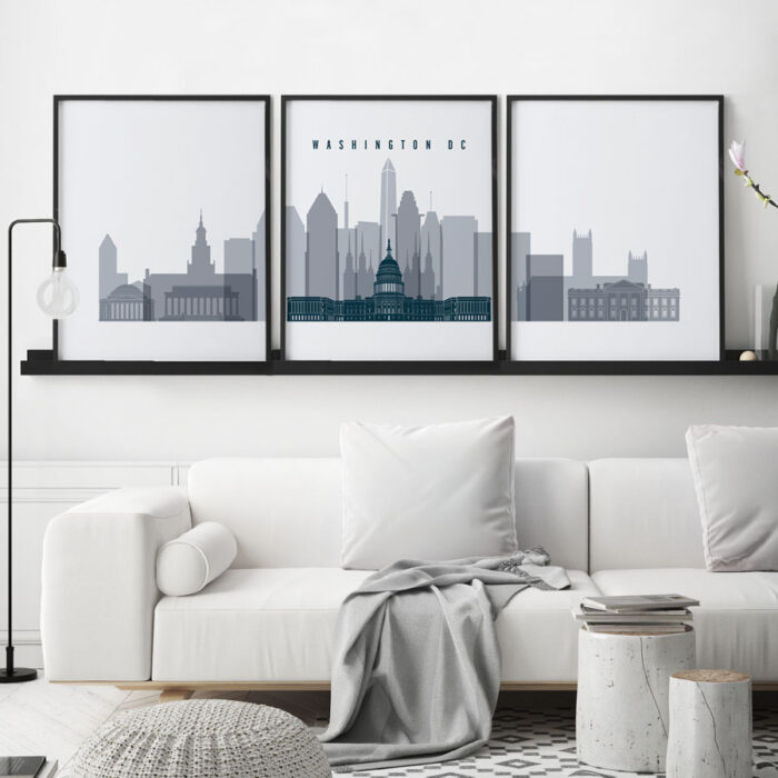 Washington DC skyline set of 3 prints grey blue second