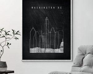 Washington DC chalkboard black white skyline print second