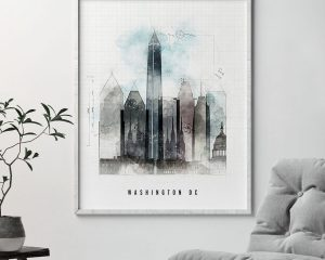 Washington DC skyline art print urban second photo