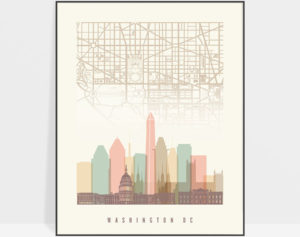 Washington DC map print poster pastel cream