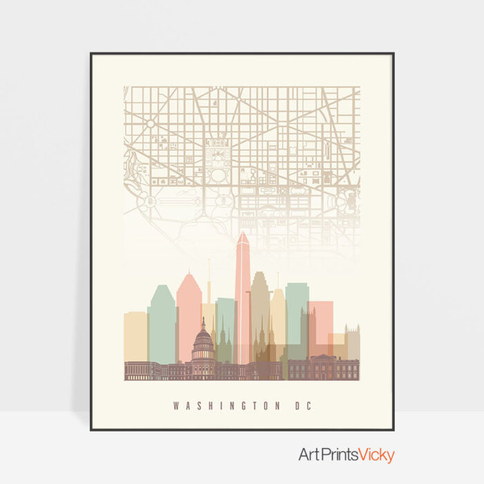 Washington DC map print poster pastel cream