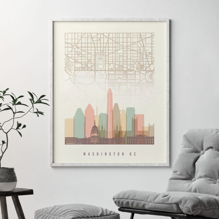 Washington DC map print poster pastel cream second