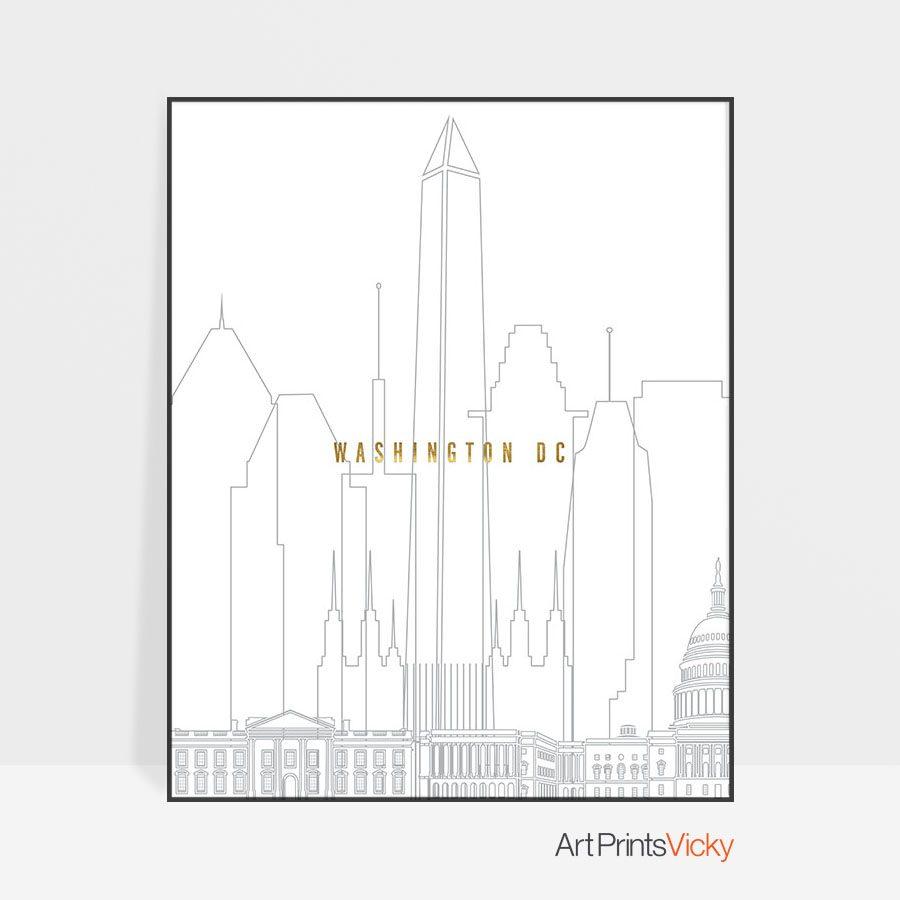 Washington DC art skyline poster grey gold
