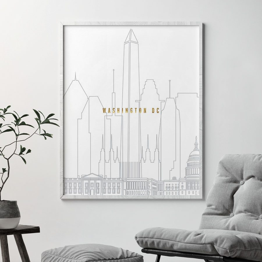 Washington DC art skyline poster grey gold second