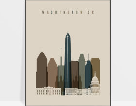 Washington DC art print earth tones 3