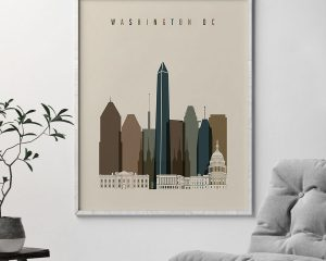 Washington DC art print earth tones 3 second