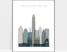 Washington DC art print skyline earth tones 4