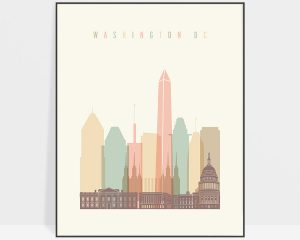 Washington DC art print skyline pastel cream
