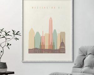 Washington DC art print skyline pastel cream second