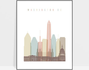 Washington DC print skyline pastel white