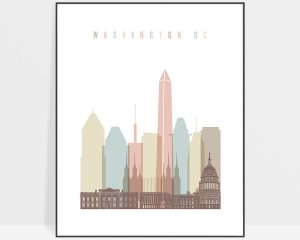 Washington DC print skyline pastel white