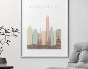 Washington DC print skyline pastel white second