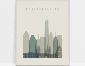 Washington DC print skyline earth tones 1