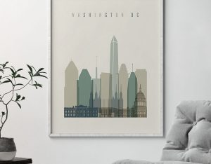 Washington DC print skyline earth tones 1 second