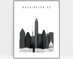 Washington DC skyline black and white art
