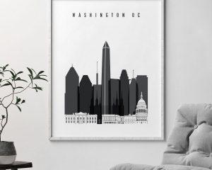 Washington DC skyline black and white art second